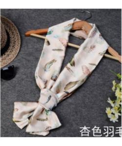 長條雪紡緞面小領巾絲巾圍巾-羽毛杏色