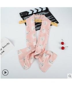 長條雪紡緞面小領巾絲巾圍巾-天鵝粉色